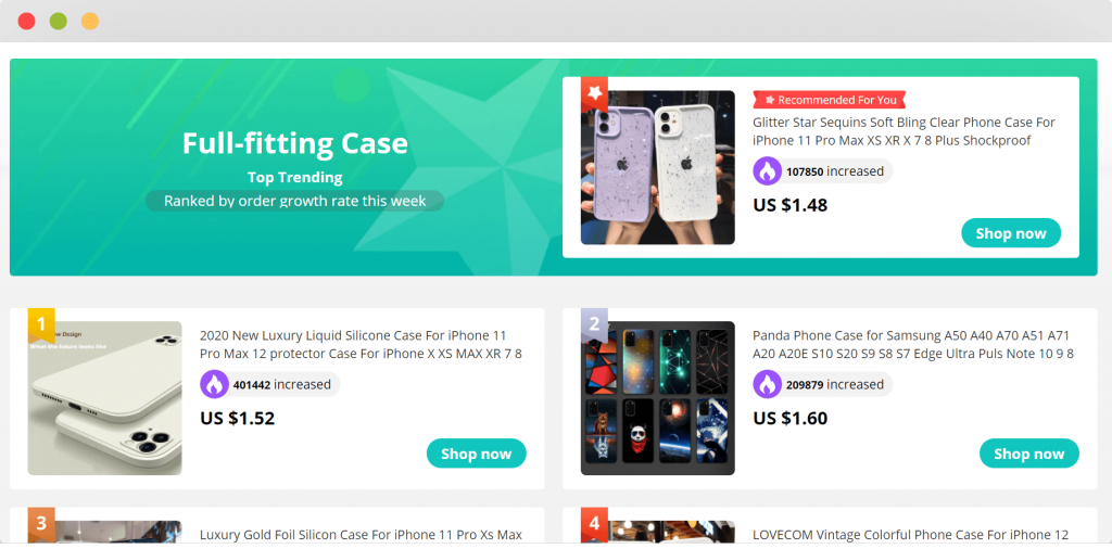Figure 3 Top dropshipping niche cellphones and accessories
