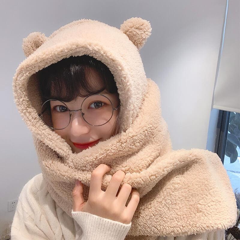 Winter Women Bear Ears Hat