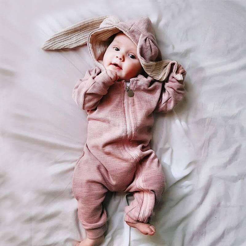 Rabbit Ear Hooded Baby Rompers