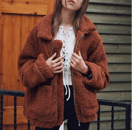 Zipper Faux Fur Coat