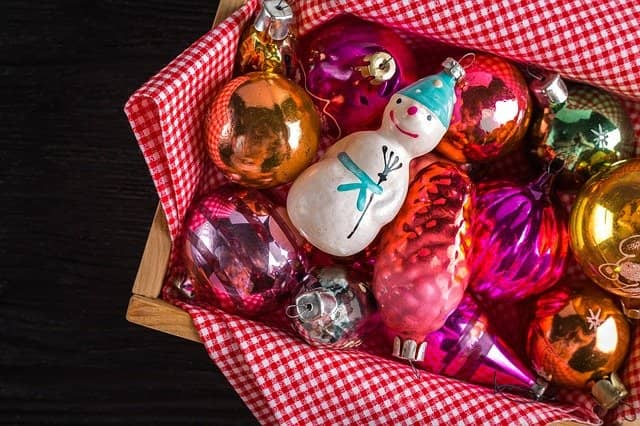 Christmas tree baubles and trinkets