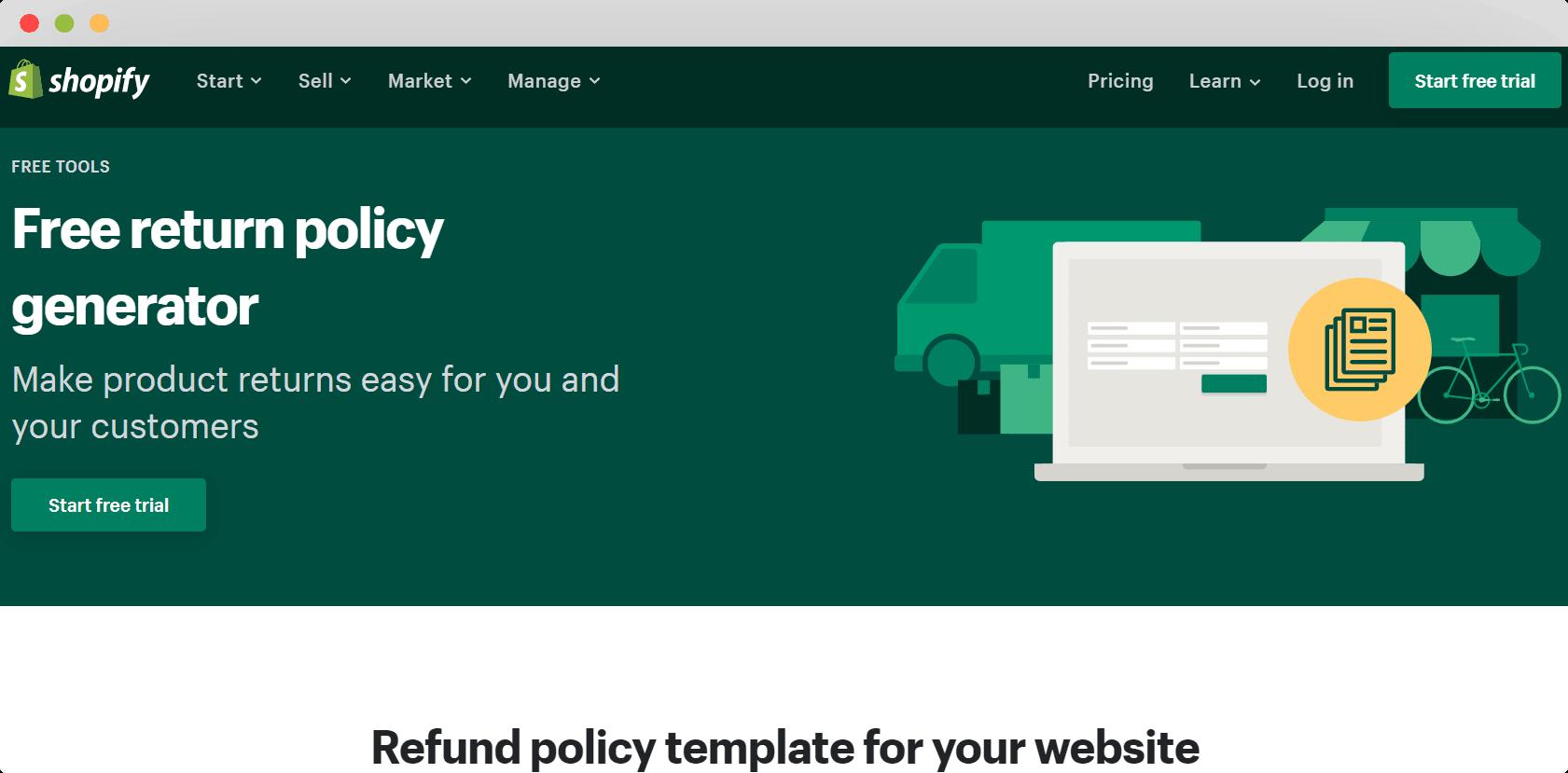 Shopify free return policy generator