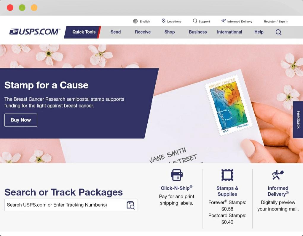 Tracking using postal service websites